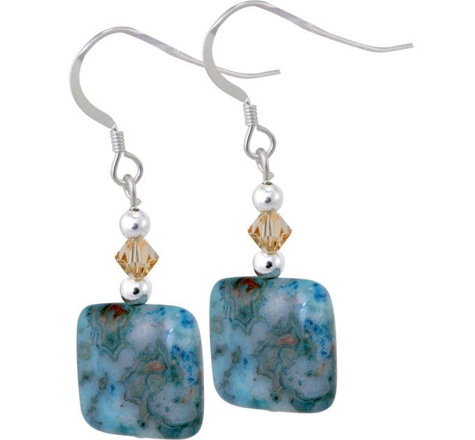 74f48dafbe910 Blue Crazy Lace Agate Earrings | Blue stones | Crazy lace agate ...