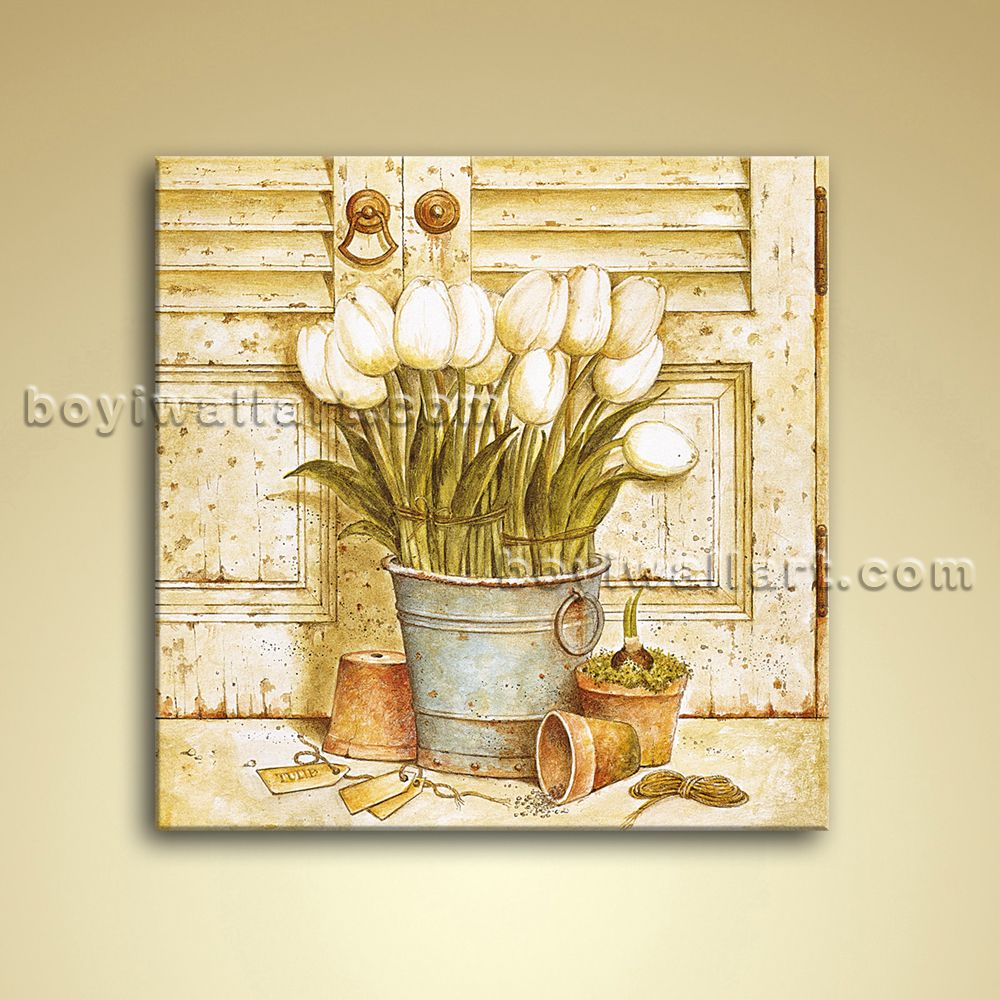 Classical Oil Painting Oil Canvas Wall Art Retro Abstract Flower ...
