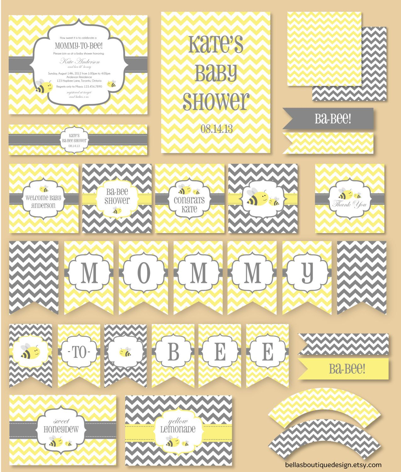Mommy To Bee Baby Shower Party Printables Paper