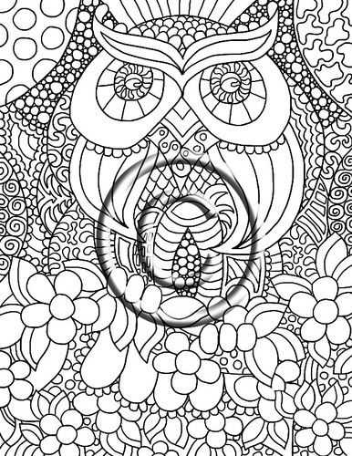 Digital Download Coloring Page Hand Drawn Zendoodle Owl Love By Kat