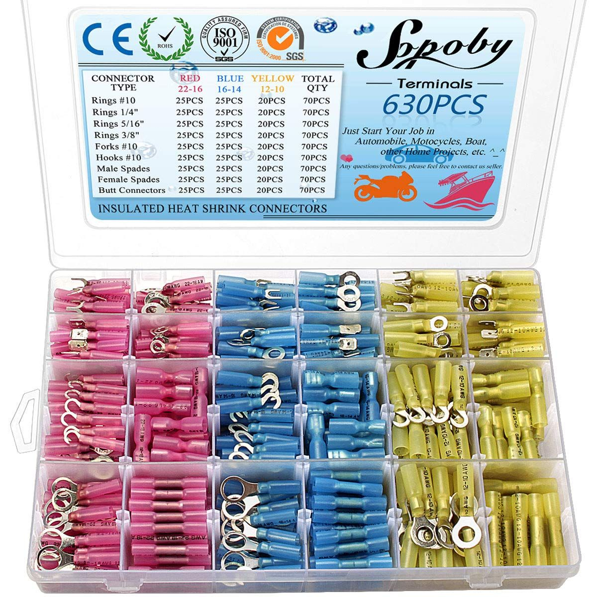 630pcs heat shrink connectors sopoby electrical wire connectors crimp connectors insulated automotive marine waterproof wire terminal kit ring fork hook  [ 1200 x 1200 Pixel ]