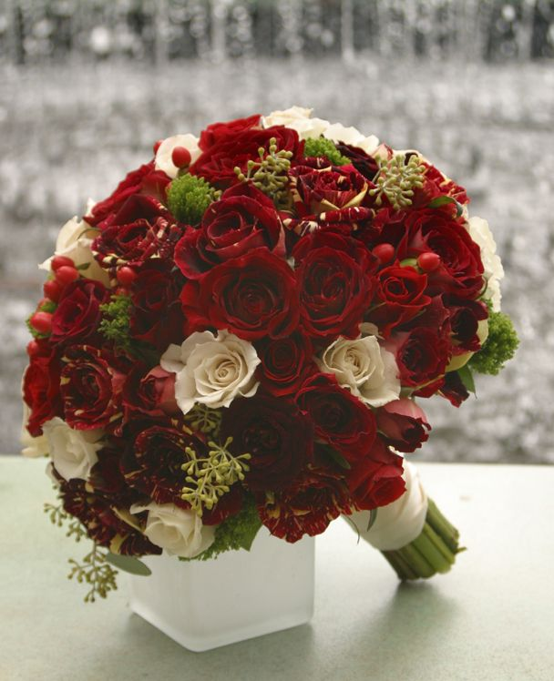 Winter Wedding Flower Bouquets: Cream And Cranberry Wedding Flower Bouquet, Bridal Bouquet