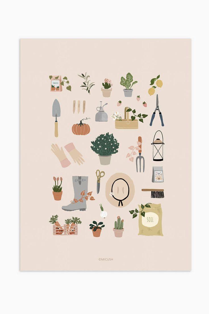 Modern gardening print gardening wall art gardener gift  Etsy in