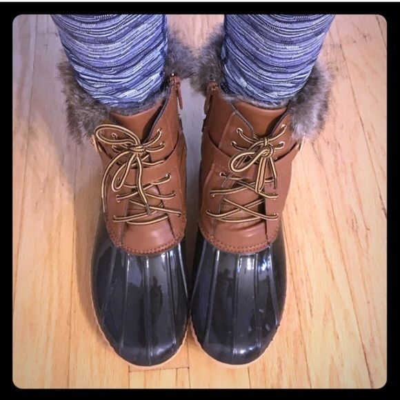 Chesnut waterproof fur duck boots Very comfy! Fleece lined waterproof durable shell. Man made fur collar, cushioned footbed. Very comfy! Fits true to size. Made by Nature Breeze. Shoes Winter & Rain Boots