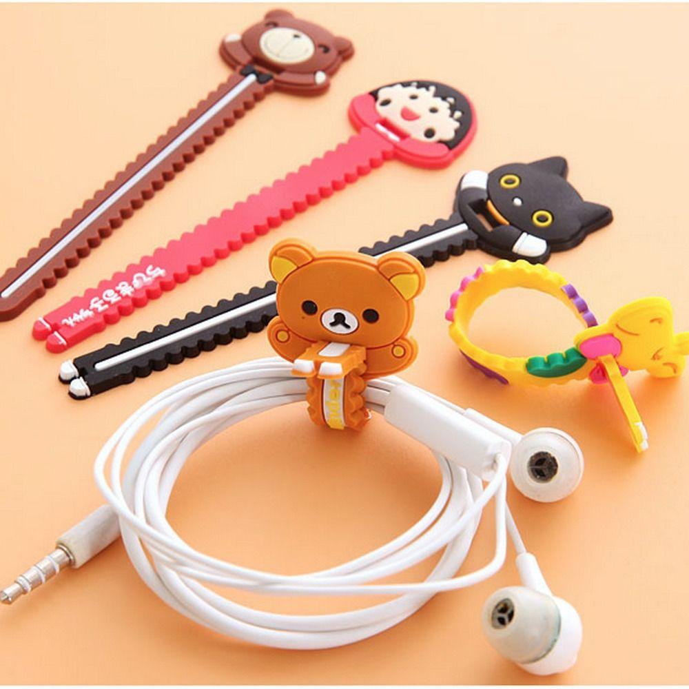 1 Pcs.Kawaii Cartoon Neatening Storage Sealing Clip.Headphone Winder Earphone Cord Wrap Organizer Wire Holder.Free shipping