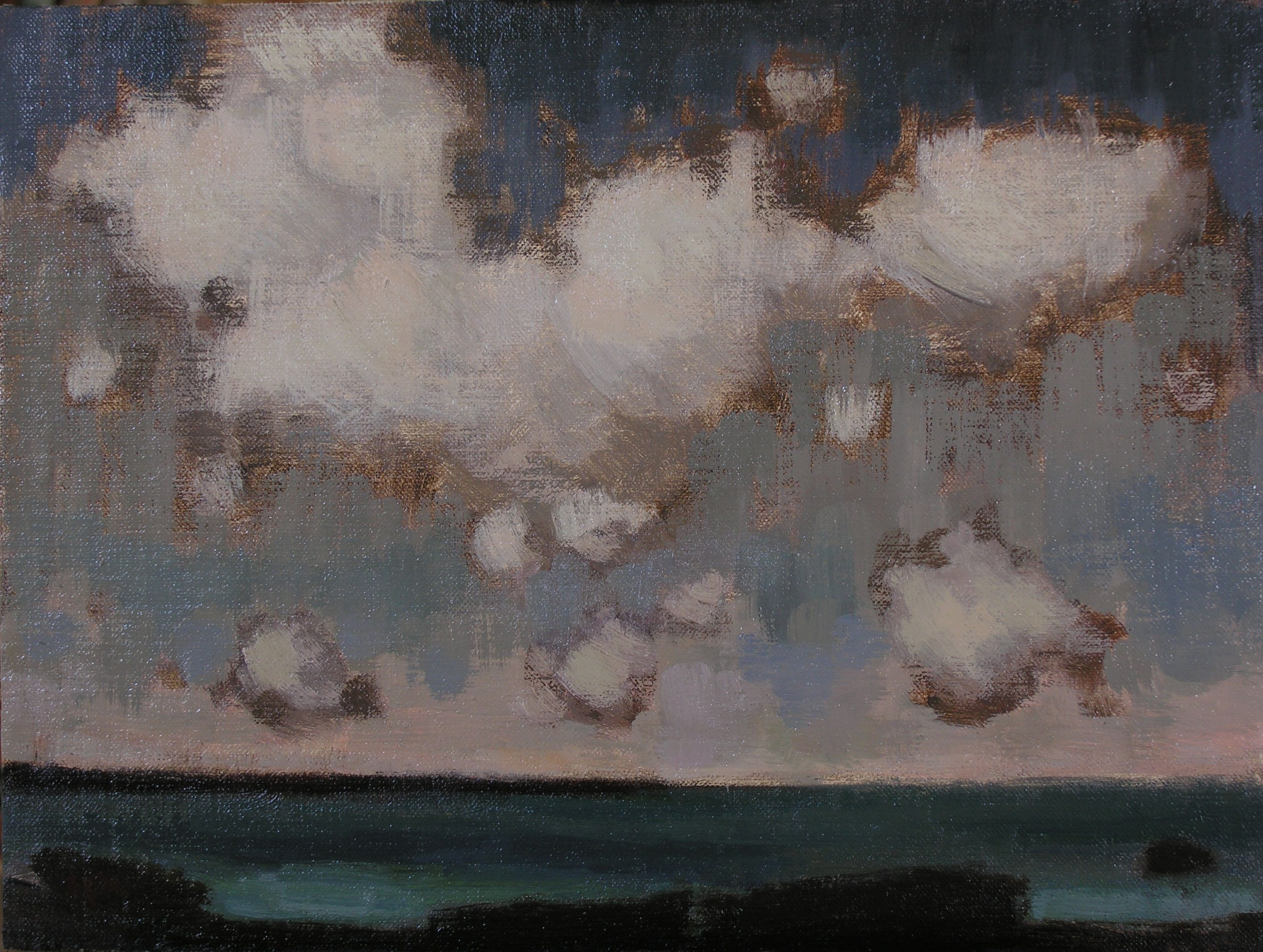 Paula Rubino, Suspended Cumulus, 9 x 12 in, oil on linen panel