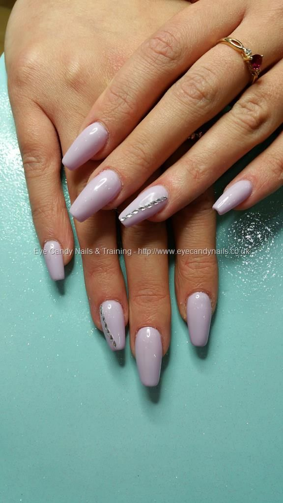 Lilac Gel 42 With Crystal Detail Over Ballerina Nails