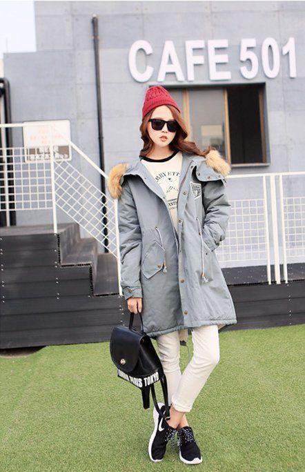 CW10863 Retro work clothing fur collar cotton coat
