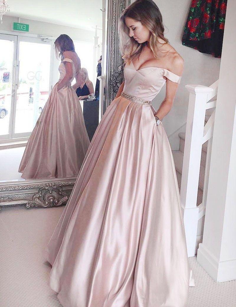 Aline offtheshoulder floorlength pearl pink satin prom dress