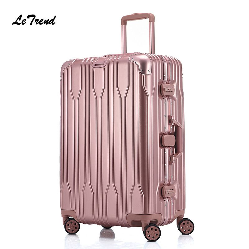 Luggage & Travel Bags 20 24 Inch Rolling Luggage Waterproof 100% Aluminium Trolley Solid Travel Bag 20 Women Boarding Bag Carry On Suitcases Trunk