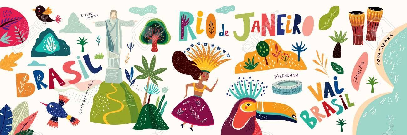 Rio De Janeiro Brazil Vector Illustration With Symbols And Icons Of Brazil Illustration Sponsored In 2020 Vector Illustration Illustration Rio De Janeiro Brazil
