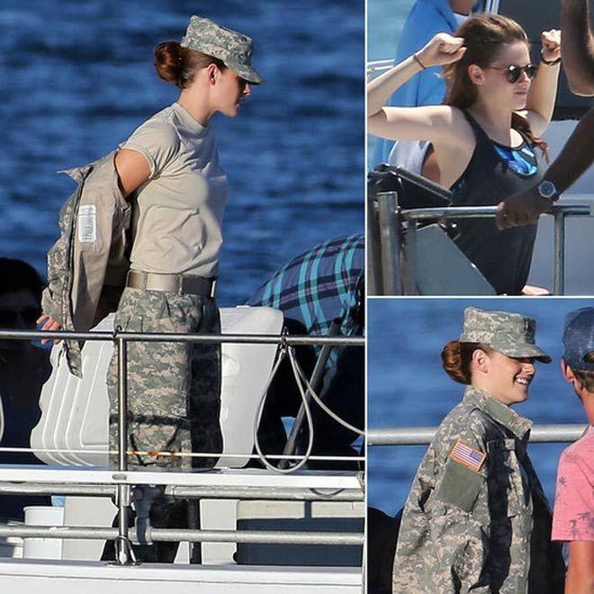 kristen stewart XRAY | Kristen Stewart Camp X-Ray : Actress In Uniform On Movie Shoot