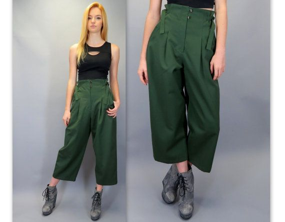 c72e87494375 Vintage 80s 90s High Waisted Wide Leg Pleated Paper Bag Pants Dark Olive  Green Tailored Trousers Slacks Ultra High Rise Ankle Pant by  BlueFridayVintage