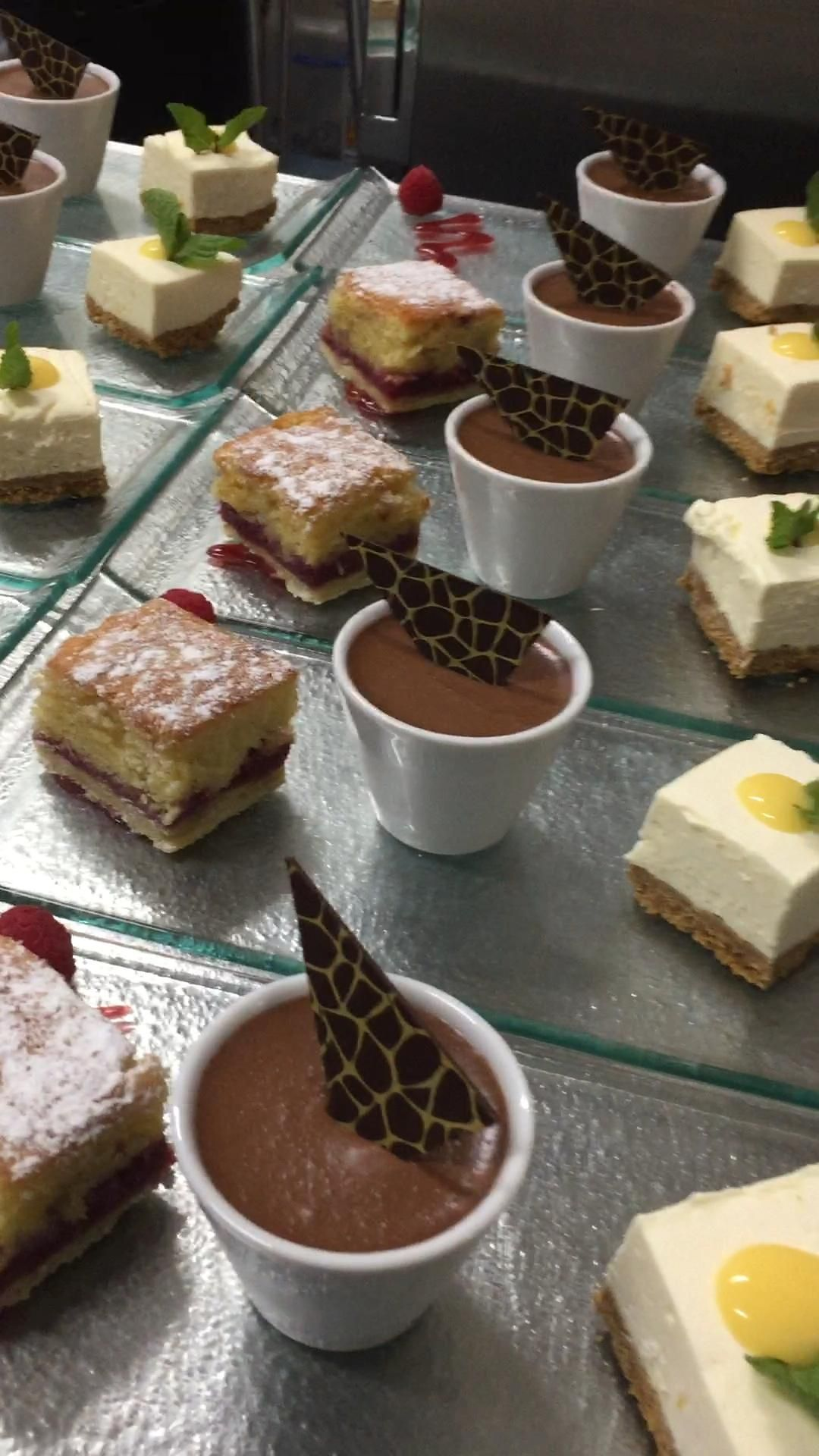 Trio of desserts for corporate dinner - Bakewell tart, chocolate mocha mousse and lemon cheesecake #desserttrio #trioofdesserts #dessertvideo #video #caterers #corporateevents #localproduce