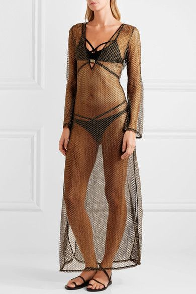 fb853ad4a7 L'Agent by Agent Provocateur - Kristen Metallic Mesh Coverup - Gold ...