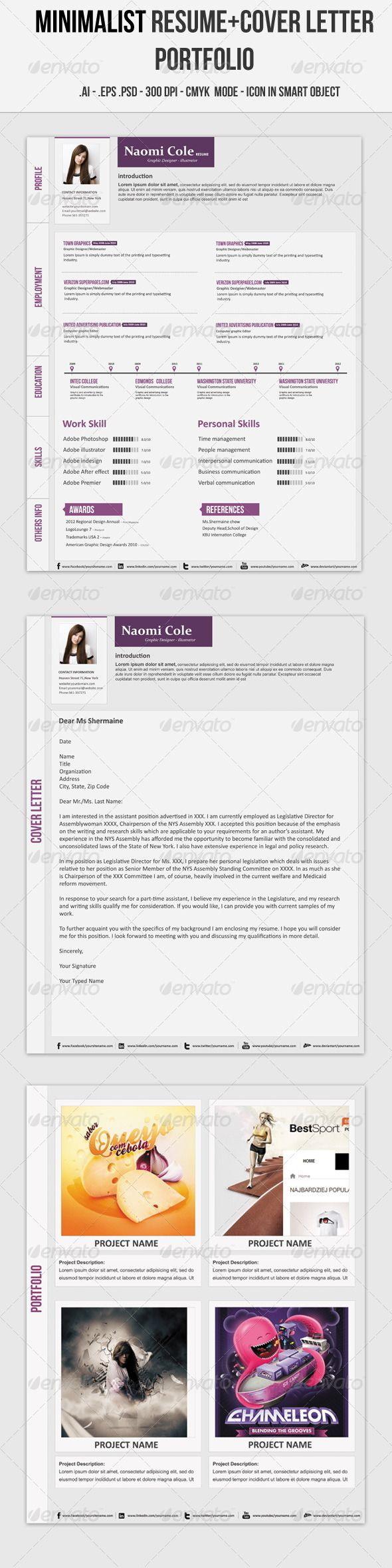 Minimalist Resume Resume Cv Cv Template And Creative Resume