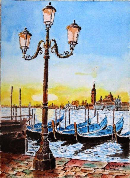 Tableau Peinture Marine Aquarelle Venise N 09 Qt 01 Venise