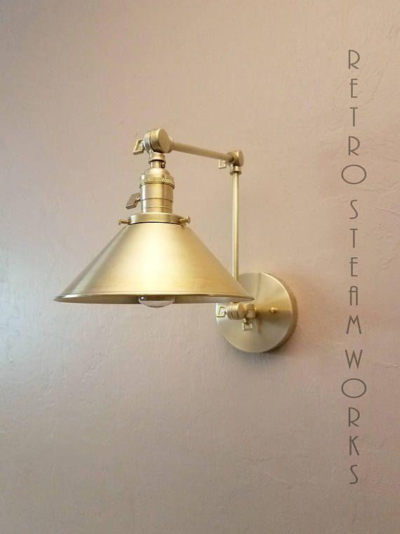 Swing Arm Adjustable Wall Light Brushed Brass Gold Etsy Adjustable Wall Light Wall Lights Industrial Wall Lights