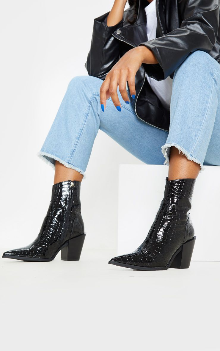 black croc ankle boots