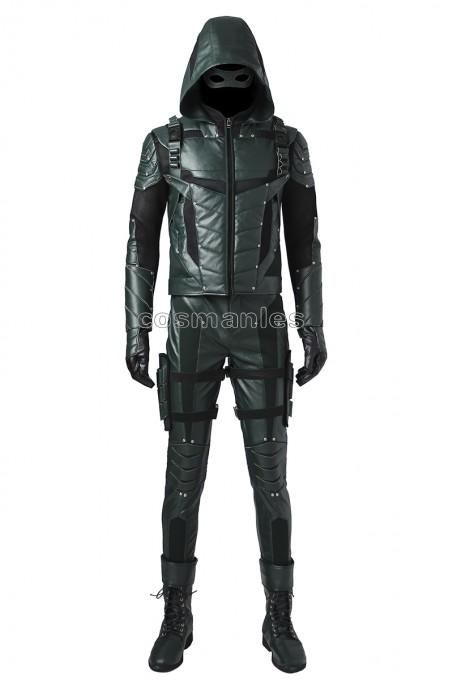 Green Arrow Season 5 Oliver Queen Cosplay Costume With Shoes Halloween Outfit