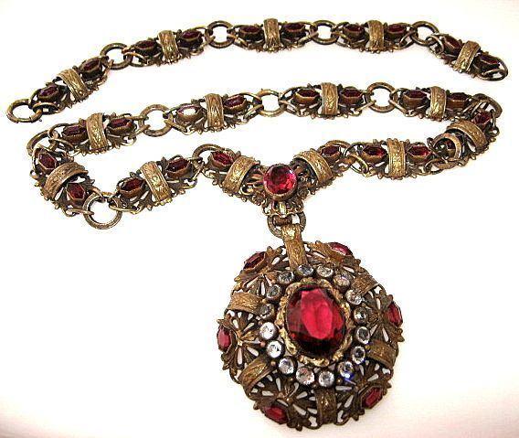 1930's-Joseff of Hollywood Necklace and Bracelet Set Circa-Book Piece