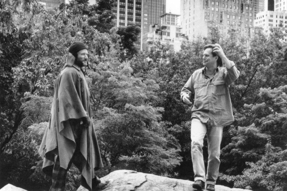 Director Terry Gilliam With Actor Robin Williams In New Yorks Central Park To Shoot A Scene For The 1991 Film Fisher King