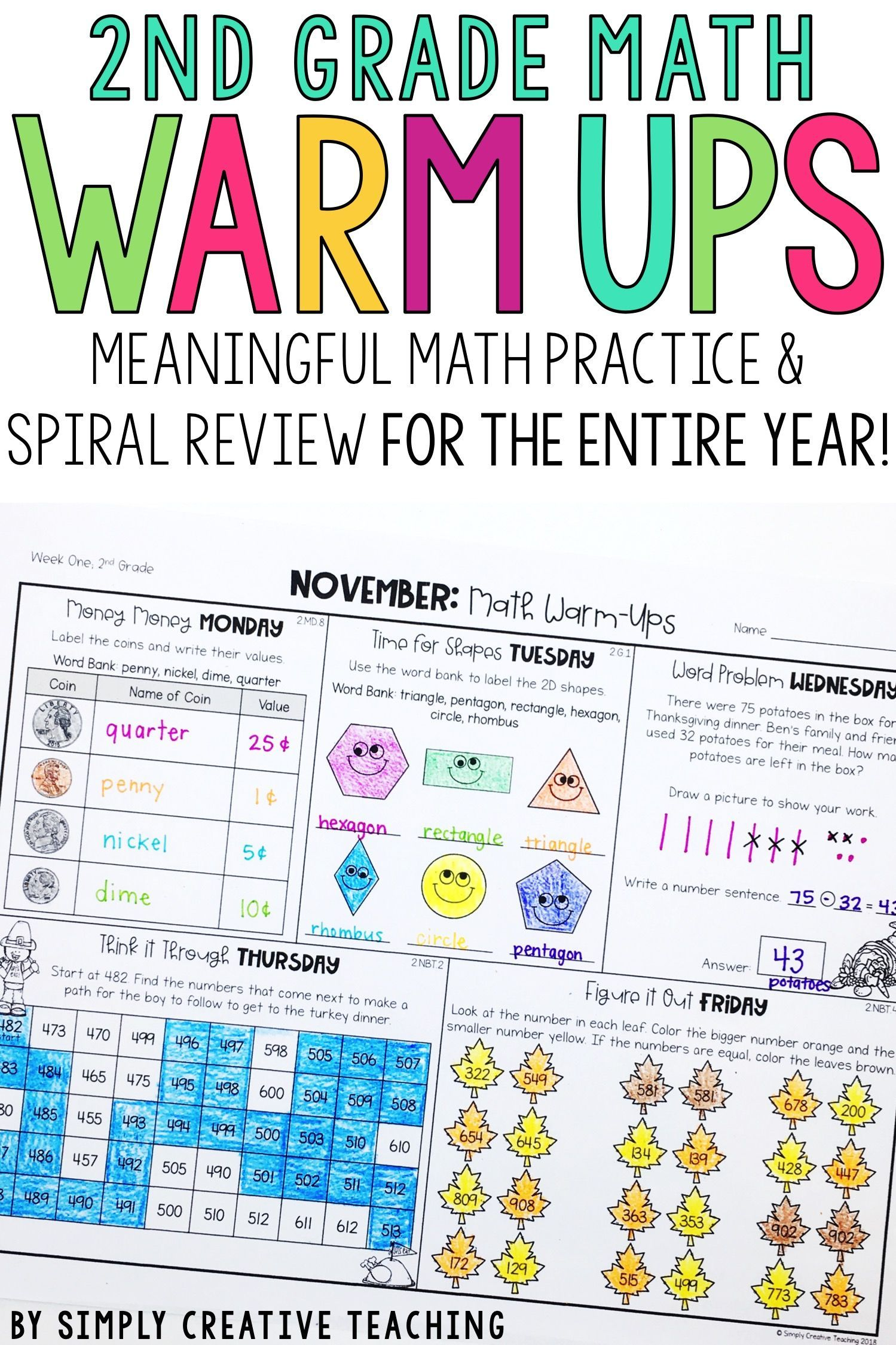 2nd Grade Weekly Math Warm Ups Amp Daily Spiral Review