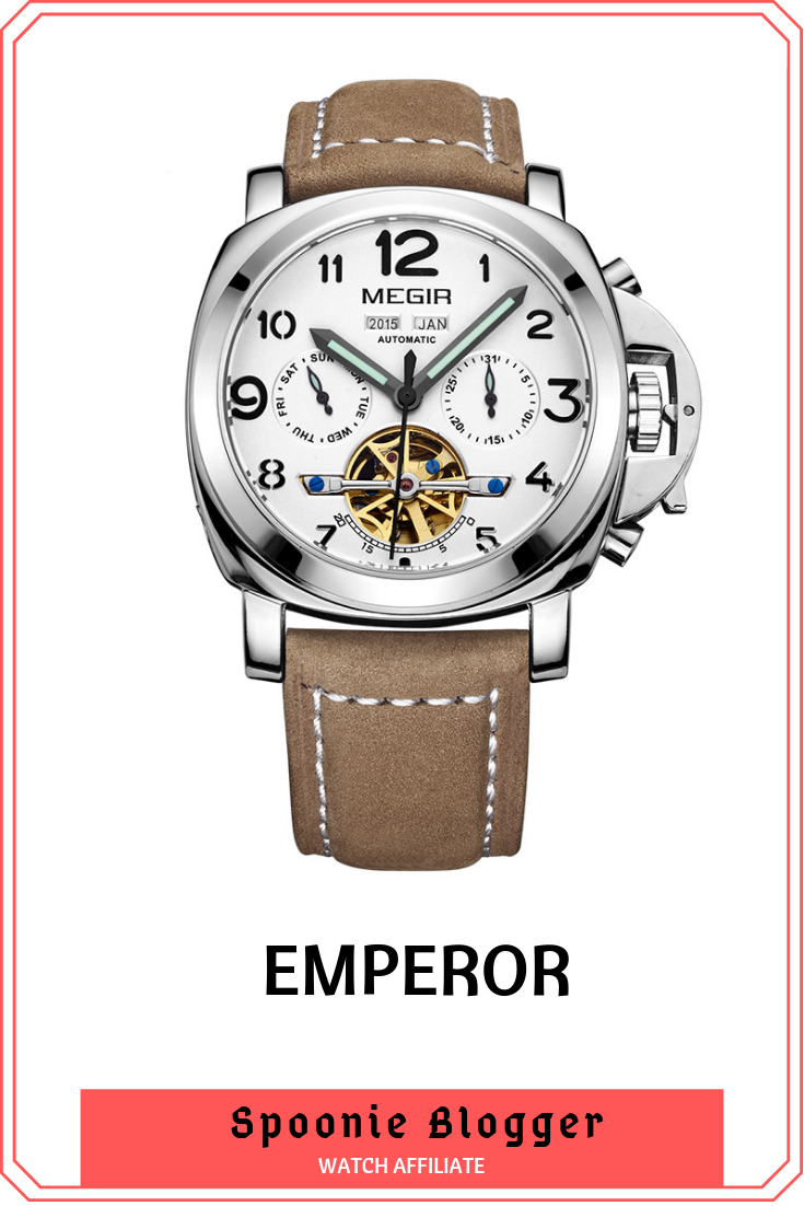 977149410 The GLADIATOR EMPEROR Manly Men's Army Style Mechanical Chronograph Watch  with 3 Bar Water Resistance #