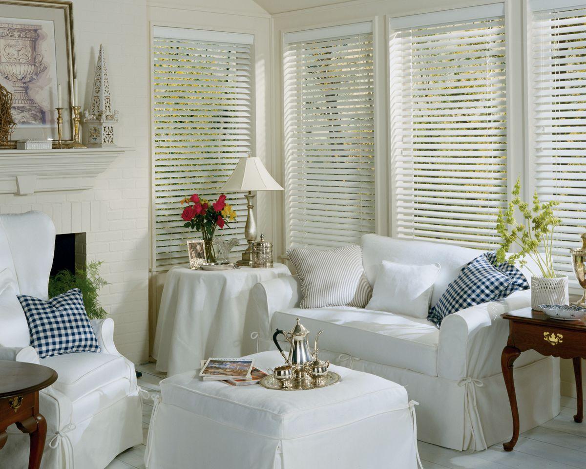 Living Room Window Blinds Faux Wood Blinds  Signature Window Treatmentssignature Window