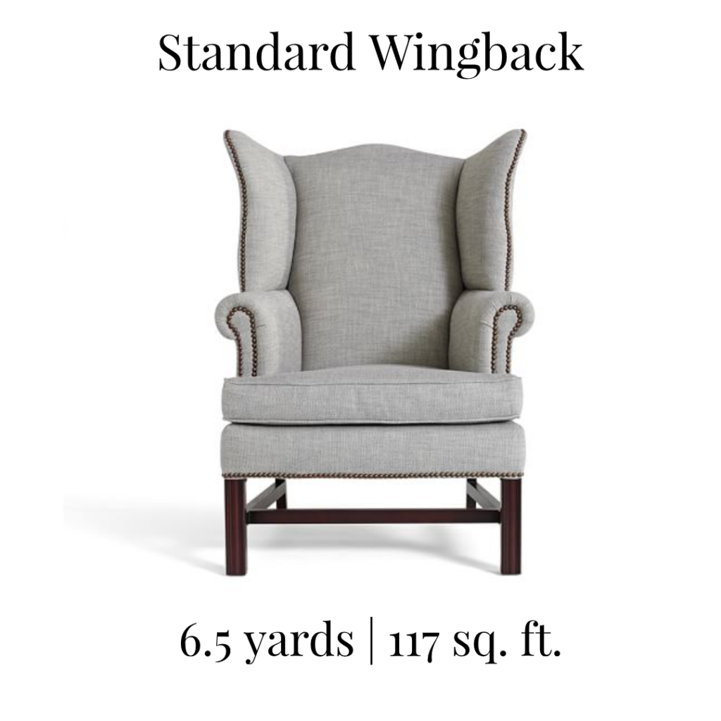 How Many Yards Of Fabric Do I Need To Recover A Standard Wing Back Chair Upholstery Yardage Calculato Wingback Chair Grey Wingback Chair Upholstered Arm Chair