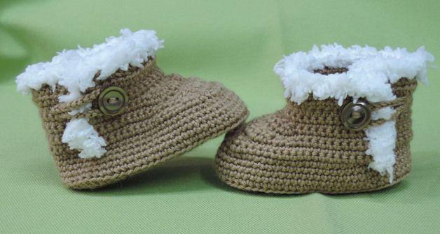 Modelo ALASKA. Bota/botín tipo UGG para bebé, hecha a crochet con ...