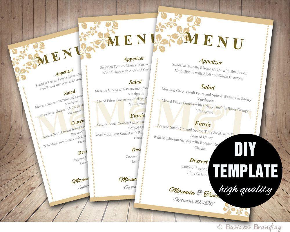 Wedding Menu Card Template Diy Gold Instant Clic