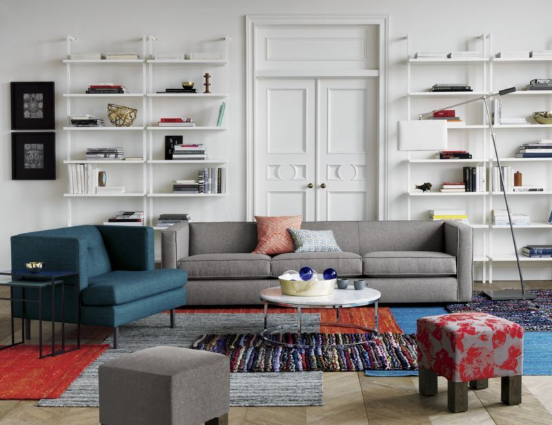 Club Grey Sofa Cb2 Actually Pinning This Because I Love The White Pipe Shelving