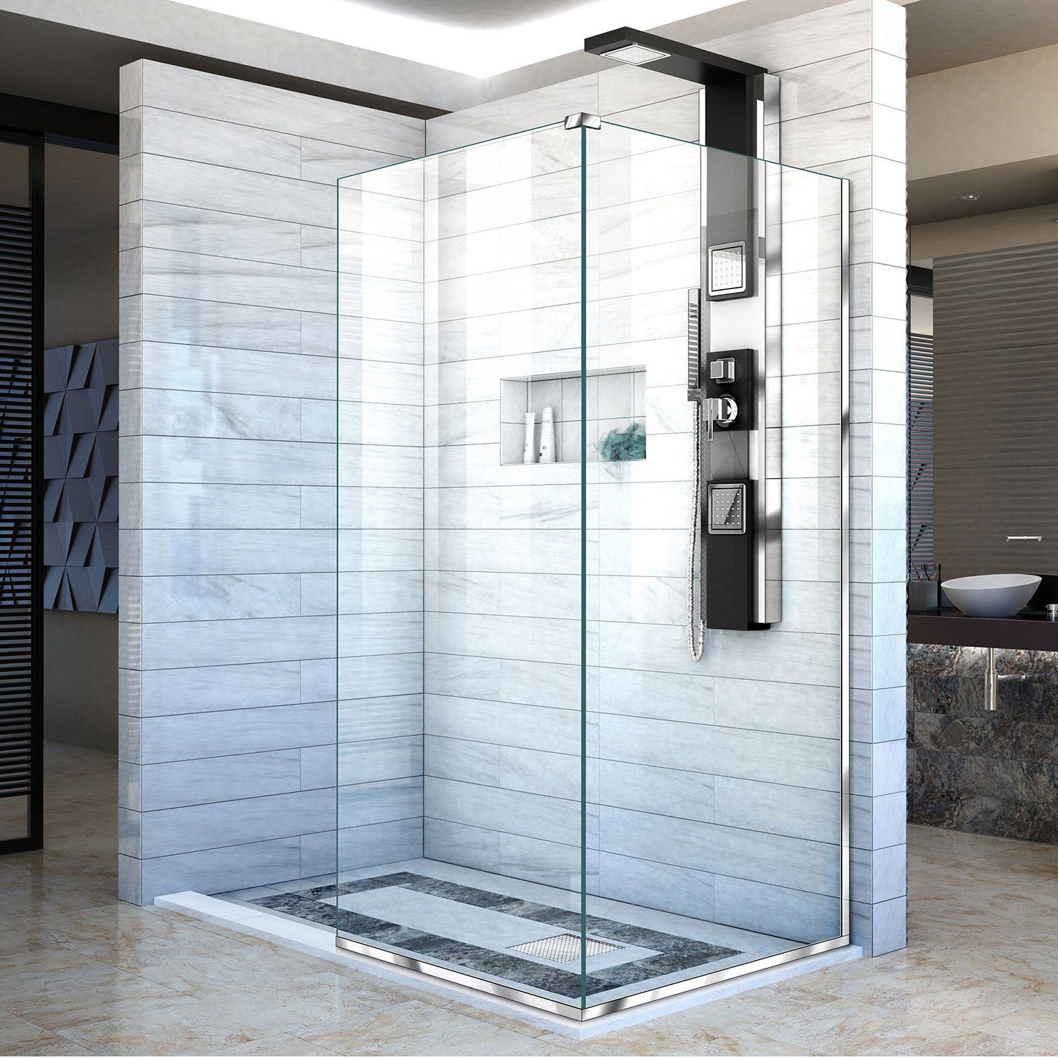 Dreamline Linea Shower Door 2 Attached Glass Panels 34 X72 And