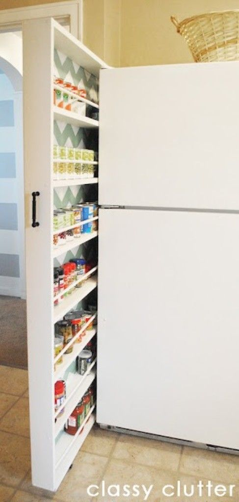 DIY Canned Storage For Gap Next To Fridge