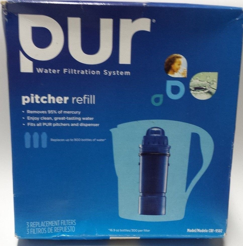 PUR CRF-950Z 2-Stage Water Pitcher Replacement Filter, 3-Pack, Free Shipping New #PUR