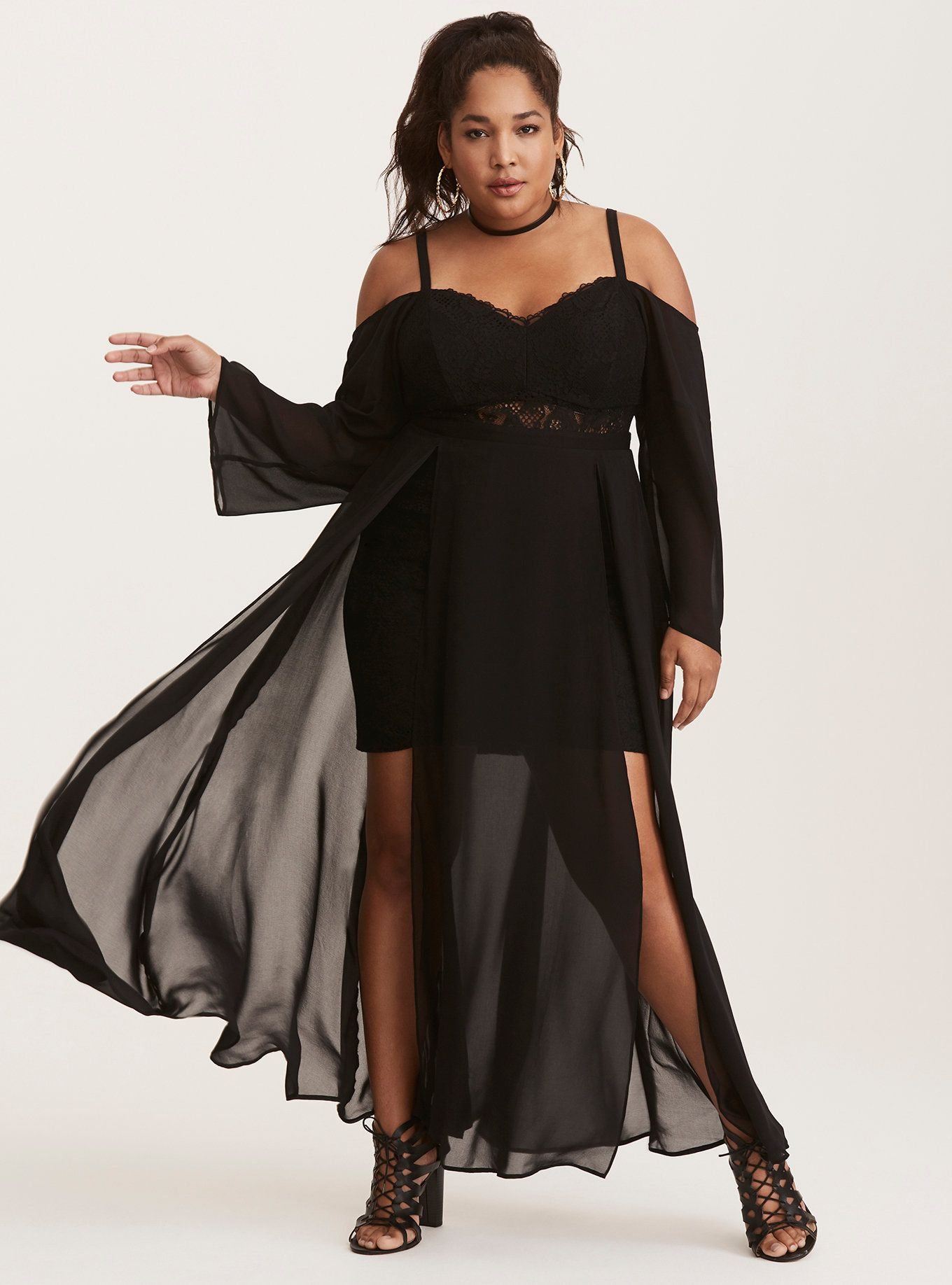 Maxi dress with lace bustier