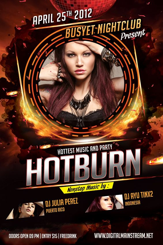 Hot And Burn Nightclub Flyer Flyer template, Template and - harmony flyer template