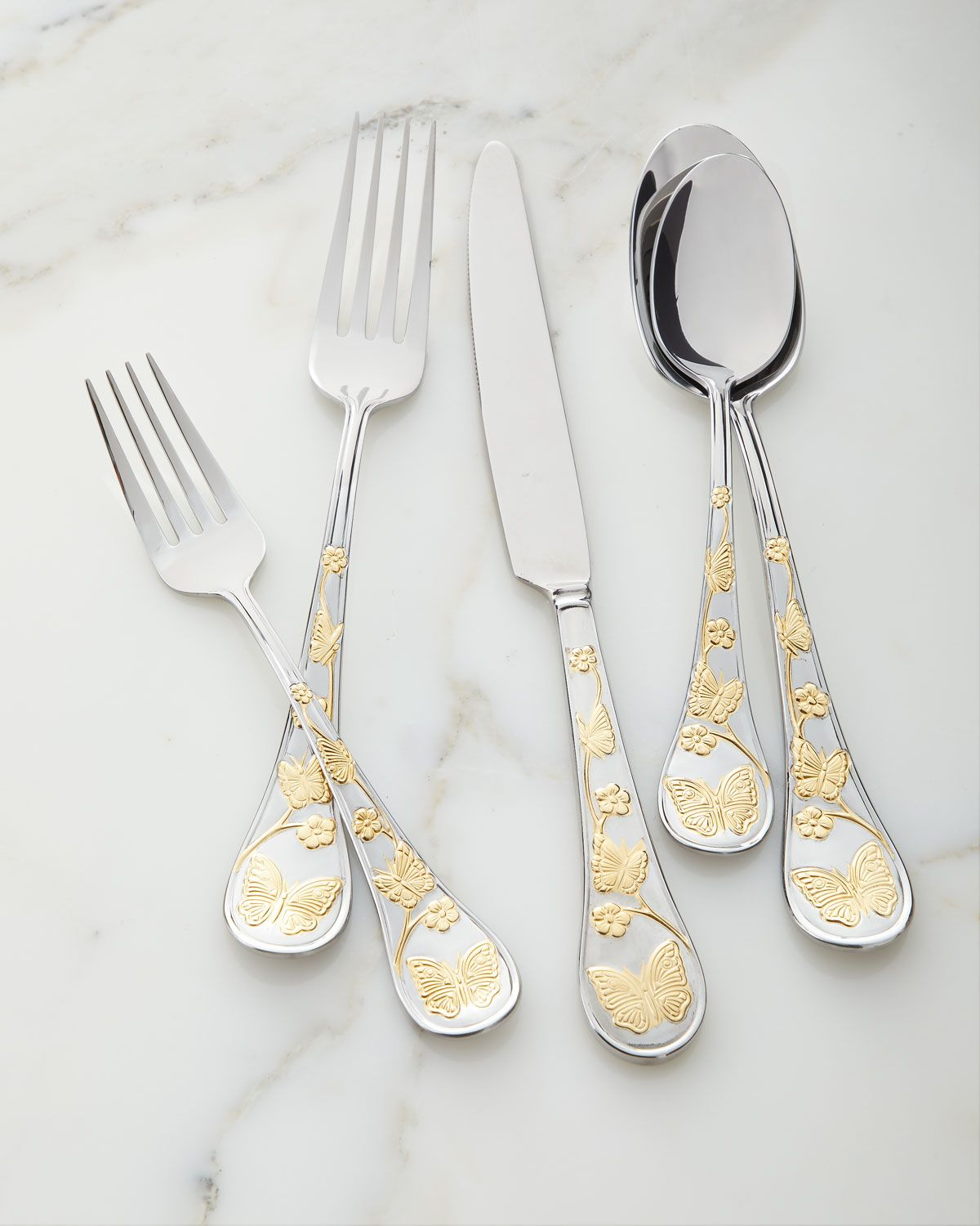 Gold Accent Erfly Flatware Set
