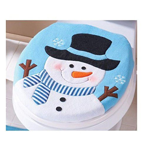 Euone 2PCS Set Fancy Snowman Toilet Seat Cover and Rug Bathroom Set Christmas Decor ** Want to know more, click on the image.