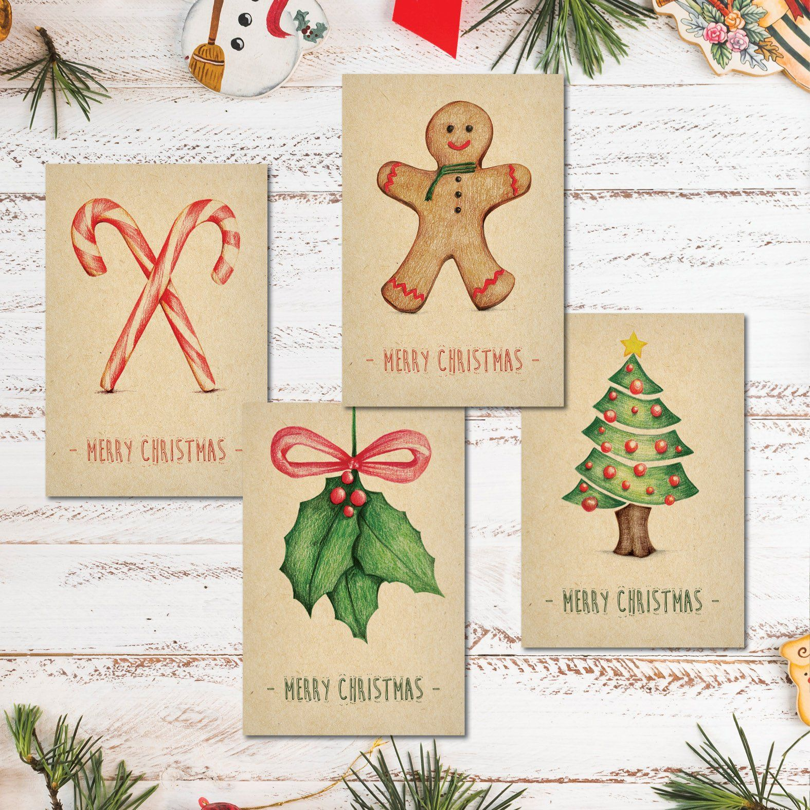 4 in 1! Printable Merry Christmas Card, Holiday Postcard