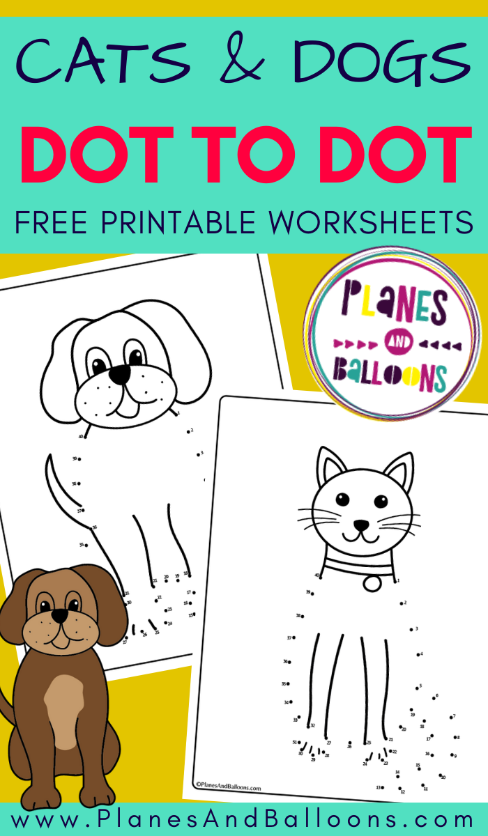 Cat And Dog Connect The Dots Printable Worksheets Planes Balloons Numbers Preschool Printables Printables Free Kids Pets Preschool [ 1200 x 700 Pixel ]