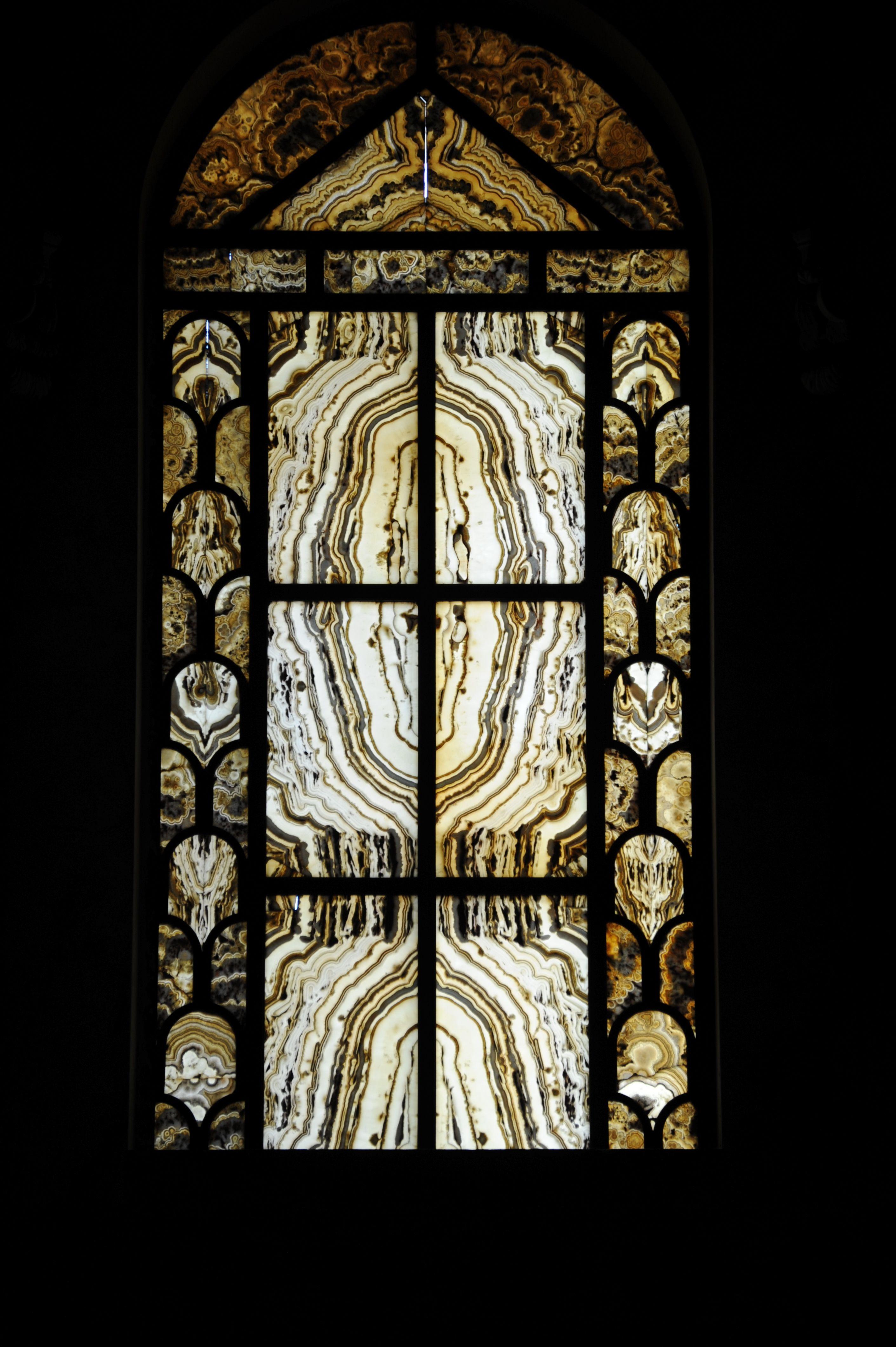 Stone agate windows, where thinly sliced polished agate ... |Stone Glass Window
