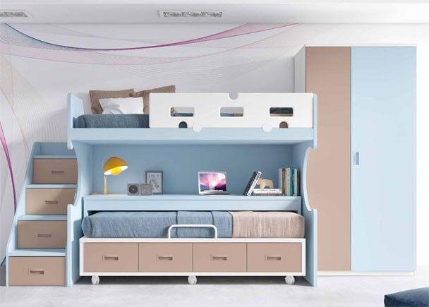 Habitaci n infantil con literas escritorio y armario for Armario habitacion infantil