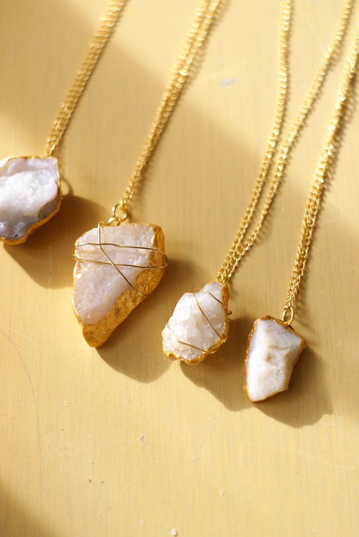 Rough Quartz Gold Jewelry Wire Wrapped Pendant Bohemian Jewelry