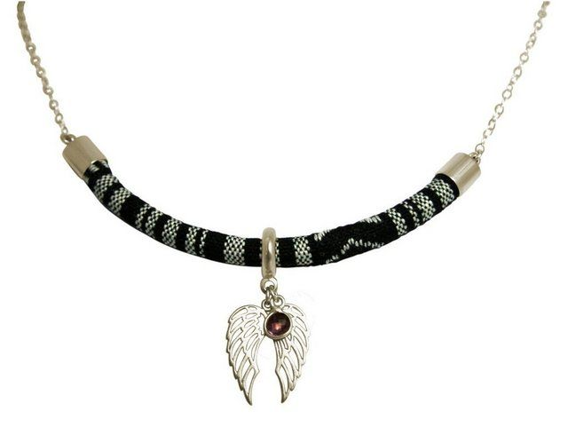Kette mit Anhänger »Engel Flügel AZTEC BOHO mit Amethyst« Made in Germany #aztec