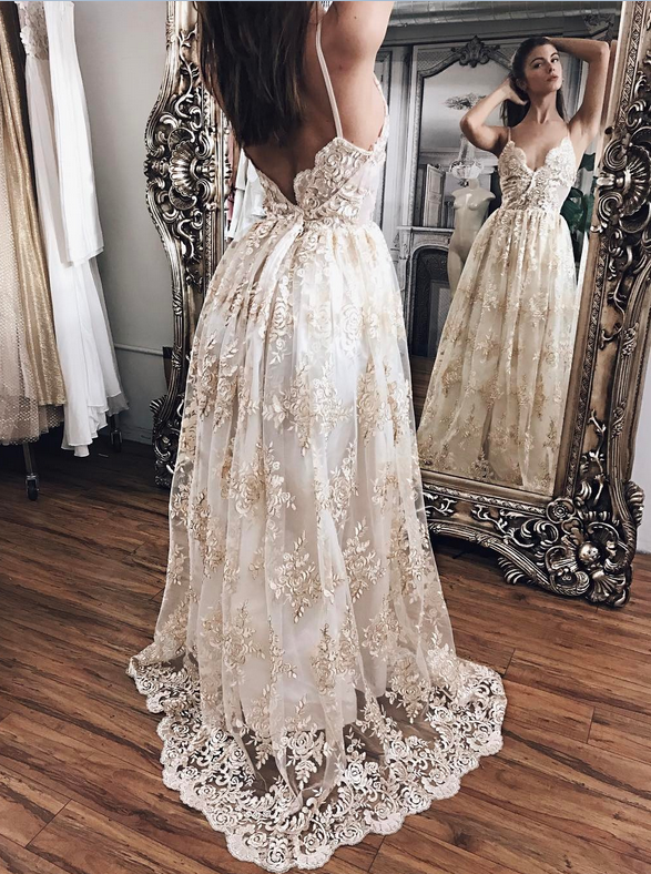 Lace Prom Dresses,Evening Gowns,Women Dresses,Backless Prom Dresses ...