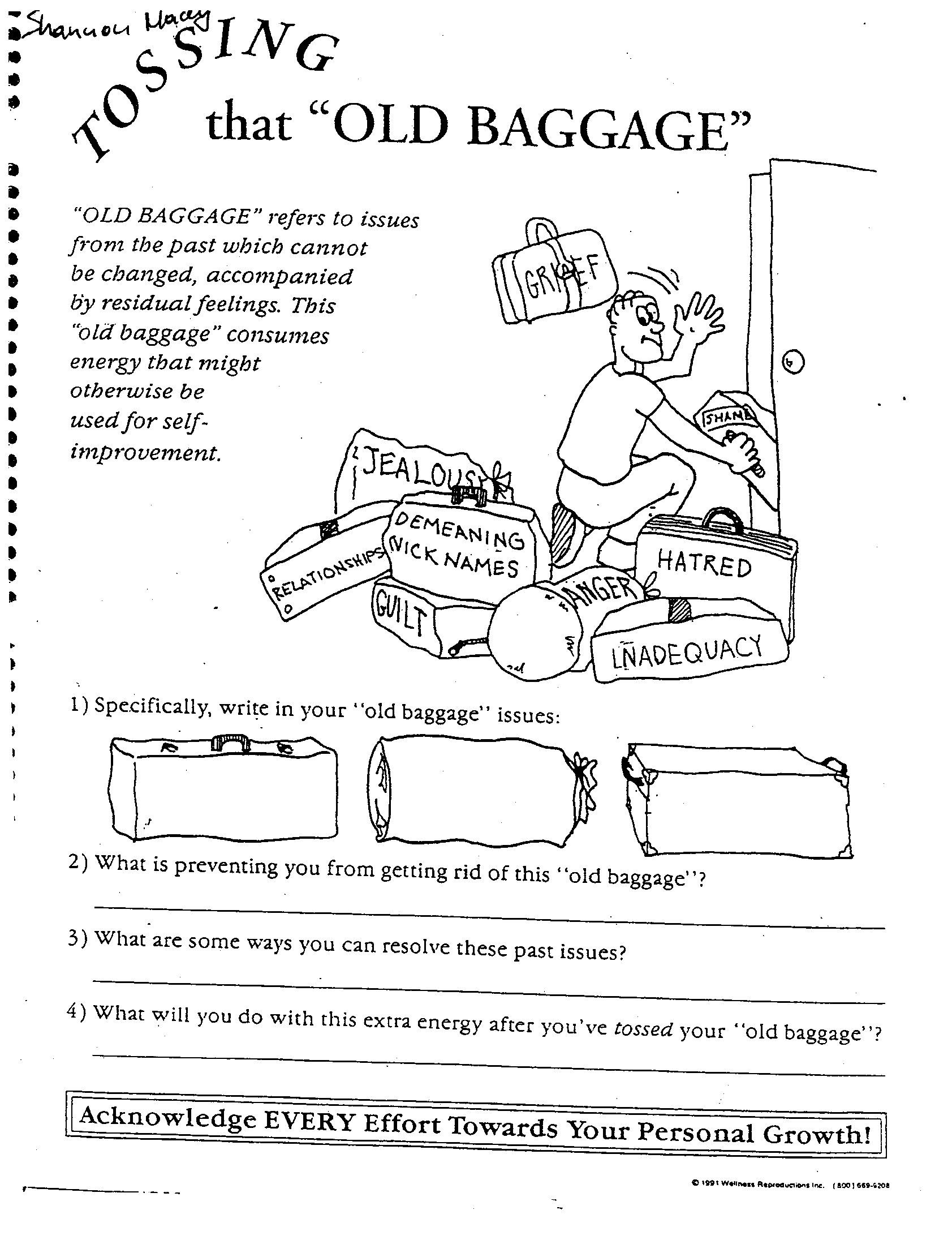 Emotional Baggage Worksheet