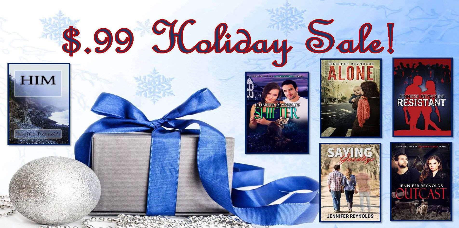 $.99 Holiday Sale  All my eBooks are $.99 between now and January 1, 2017.   Shifter, Supernaturals Book 1—A paranormal romance http://www.amazon.com/dp/B00M8HLU2U https://www.smashwords.com/books/view/462262 http://www.barnesandnoble.com/w/books/1120024902?ean=2940149636907 https://itunes.apple.com/us/book/shifter/id904335011?mt=11 https://store.kobobooks.com/en-US/ebook/shifter-14 https://www.overdrive.com/media/1971202/shifter	  Outcast, Supernaturals Book 2—A Paranormal romance…
