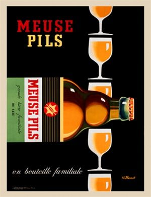 Meuse Pils By Villemot 1968 France